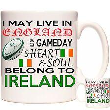 Irish Rugby Mug, je peut vivre en Angleterre mais sur MATCH JOUR... Cadeau Mug