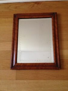 Antique Birdseye Maple Mirror Etched Edge Period Picture Frame