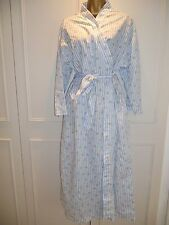 Dressing Gown Robe Vintage Contessa Blue Floral Print Belt Pockets