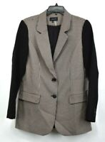 1 State Womens Mini Houndstooth Mixed Media Blazer Notched Flap Back Vent 4 $149