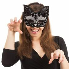 BLACK SILVER CAT~WHISKERS & EARS SEXY GLITZY EYE MASK~MASQUERADE~BALL~FREE PP UK