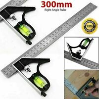 """300mm 12"""" Adjustable Engineers Combination Try Square Set Right Angle Ruler - UK"""