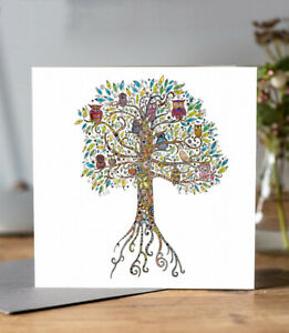 Floral Owl Tree Blank Greeting Card – Great Illustrated Art For All Occasions