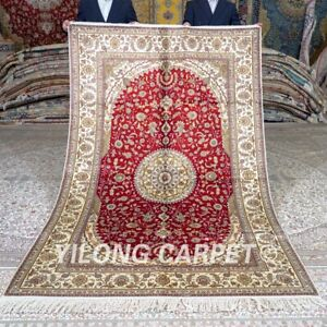 Yilong 5'x8' Red Handmade Silk Area Rug Villa Hand Knotted Bedroom Carpet 421C
