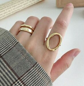 925 Sterling Silver Plated Gold Round Ring Adjustable Minimalist Geometric Open