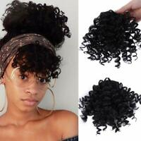 100% Human Hair Curly Bangs Clip in Afro Kinky Fringe Hairpiece Hair Extensions
