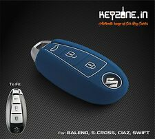 KeyZone Silicone Smart Key Cover for Suzuki Ciaz, S-Cross, Baleno, Swift (Blue)