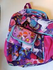 Girls Fashion Angels Brand Pink Purple Blue Pegasus Roses School Backpack Set