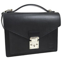 AUTH LOUIS VUITTON MONCEAU 2WAY BUSINESS HAND BAG SATCHEL BLACK EPI NR11756g