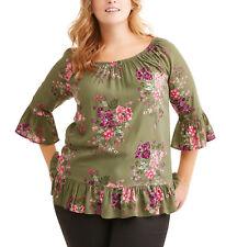 NEW Terra & Sky Olive Peplum On Off Shoulder Peasant Shirt Plus 2X 20W-22W