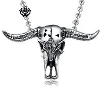 Silver bull pendant buffalo horn skeleton stainless steel ball chain necklace