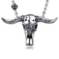 Silver bull pendant buffalo horn skeleton stainless steel necklace