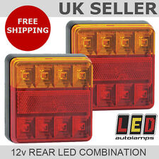 Pair of 12v Square Rear LED Trailer Lights *3 YEAR WNTY* Stop/Tail/Indicator