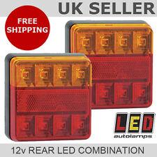 Paire de LED carré 12v arrière feux de remorque * 3 ans wnty * stop / queue / indicateur