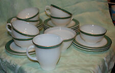 RARE PYREX TEAL GREEN RING BAND DISH SET GILDED EDGES 21 PIECES