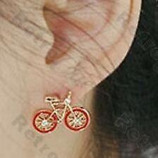 Retro Bicicleta Rojo Aretes Cristal Strass Bicicleta Tachas chapado en oro Kitsch