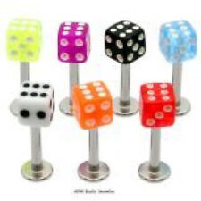 5 14g Dice Labrets/Monroes Lip Rings WHOLESALE Lot BO