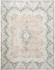 Antique Muted Pale Dusty Rust Kirman Area Rug Distressed Hand-Knotted Wool 10x13