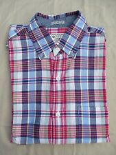 JCrew Red White Navy Indian Madras Plaid Button Down Shirt Men's Small