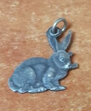 Judaica Israel Old small Silver Pendant Rabbit