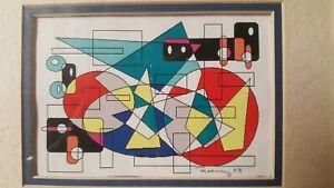 """Red Spiral"" 2008 Art print Rodney Davis12 Color,  Screen Monoprint Ltd 1/1"