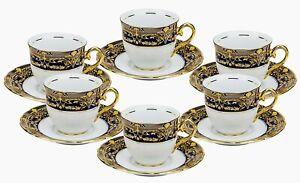Euro Porcelain 12-pc Tea Cup Coffee Set Service for 6 - Cobalt Blue 24K Gold