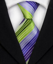 New Mens Striped WOVEN JACQUARD Silk Men's Suits Tie Necktie M236 Purple Green
