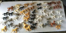 Lot of Vintage Plastic Rubber Toy Horses Men Various Sizes, Styles & Colors
