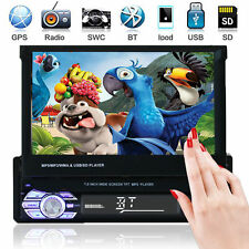 "Auto Stereo MP5 MP3 Player 7 ""Flip Up Bluetooth Touch AM FM Radio Single DIN USB"