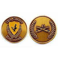 🌟(1 Coin) 12th Cavalry Regiment Brass Challenge Coin, Semper Paratus DUI & COA