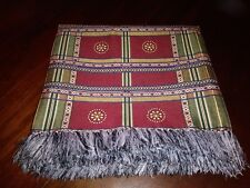 "Tablecloth or Bed Spread/Cover w/Fringe Warm Earth Tones 56"" Square"