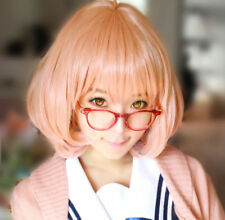 Anime Kyokai no Kanata Kuriyama Mirai Short Orange Pink Cosplay Hair Wig