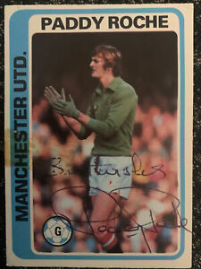 Signed 1970s Topps Trading Card Paddy Roche Blue Back Manchester United 1979