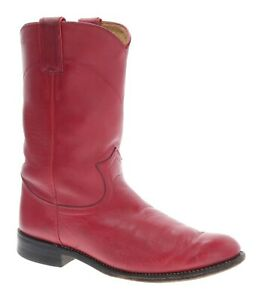 JUSTIN Cowboy Boots 7 B Womens RED Leather Western Roper Boots Vintage Biker