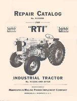 Minneapolis Moline RTI Tractor Parts Catalog Manual