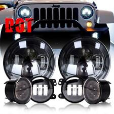 "7'' LED Headlights Signal Turn Light 4"" Fog Lamp Kit for Jeep Wrangler JK 07-17"