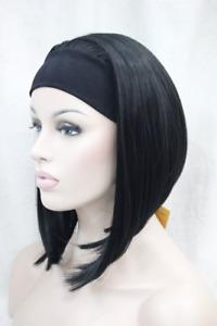 Women Wig Short Straight Daily 3/4 Headband Half Wig Black Hair Cosplay Wig