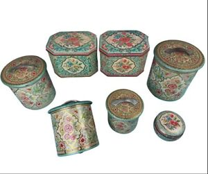 Nesting Floral Tin Can Canister Holland SET of 7 w/ Lids. England Vintage Chintz