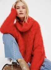 NWT Free People orange Chunky Fuzzy Cable Knit Turtleneck Crop Swing Sweater XS