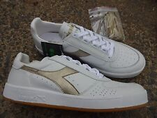 Diadora B. Elite Made in ITALY Shoes Sneakers White Gold Leather 8.5