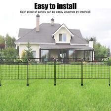 "4Pcs 44"" Wrought Iron Fence Foldable Metal Garden Border Edging Yard Fencing"