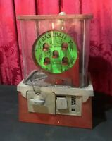VINTAGE ANTIQUE COIN OPERATED BASEBALL GUMBALL DISPENSING PENNY GAME