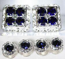 Dark Indigo Square Cufflinks & Round Studs Set Made With Swarovski Crystal