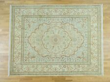 "8'1""x10'5"" Antiqued Tabriz with Pastel Colors Hand-Knotted Oriental Rug R36048"