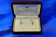 Mikimoto 6mm Pearl Sterling Silver Screwback Earrings w/ Box