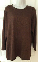 LANE BRYANT 3/4 Sleeve Brown Metallic Bronze Sweater Tunic Top ~ Size 14/16