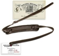 "Walker & Williams C-18 Vintage Style Guitar Strap Dark Brown Leather XL 47""-61"""