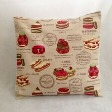 """NEW 16"""" Shabby Taupe & Pink French Patisserie Cakes Bakers Chic Cushion Cover"""