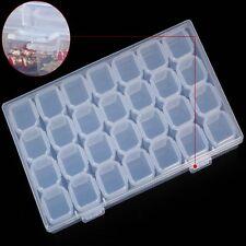 Plástico transparente 28 ranuras caja almacenamiento organizador  joyería