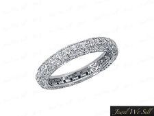 0.85Ct Round Cut Diamond Pave Set Wedding Eternity Band Ring 14k White Gold G Si